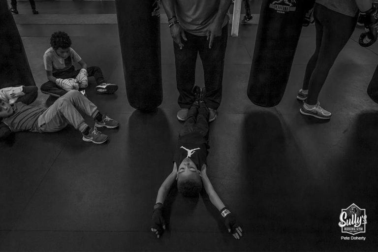 youth boxer exercising