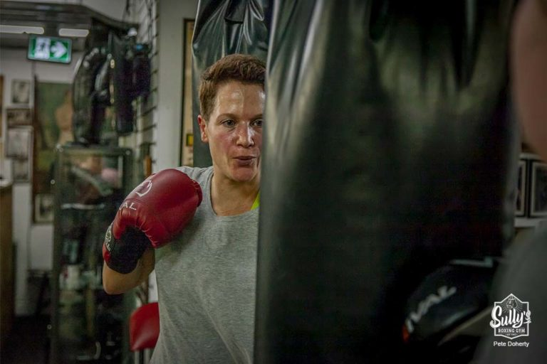 Person working Out on heavy bag