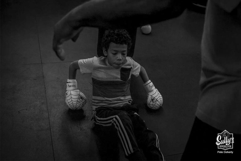 youth boxer taking a break